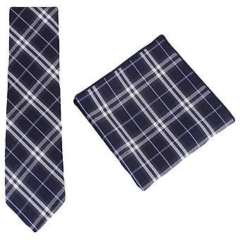 Knightsbridge Neckwear Check Cotton Tie and Pocket Square Set - Navy/White
