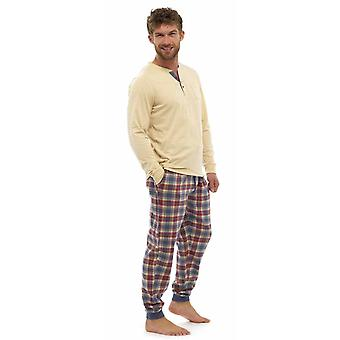 Mens Warm Jersey Top & Flannel Bottoms Pyjama Lounge Wear