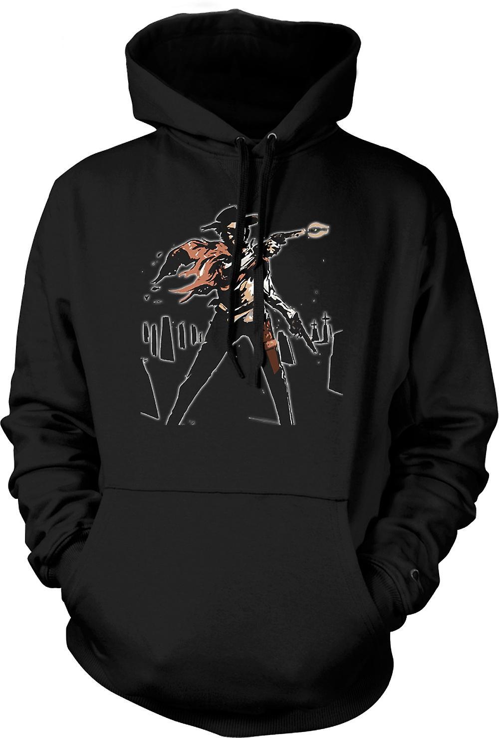Barna hettegenser - Spaghetti Western - Cowboy - skisse