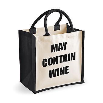 Mittlere schwarze Jute-Tasche kann Wein enthalten.
