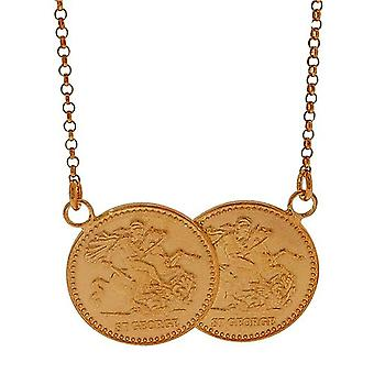 TOC Rose-Goldtone Sterling Silver St George Full Sovereign Necklace 17.5+1