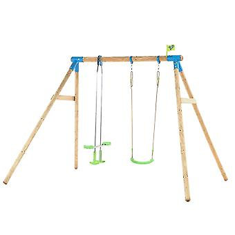TP Toys Nagano Wooden Double Swing Set With 1 Swing 1 Glide Ride Swing