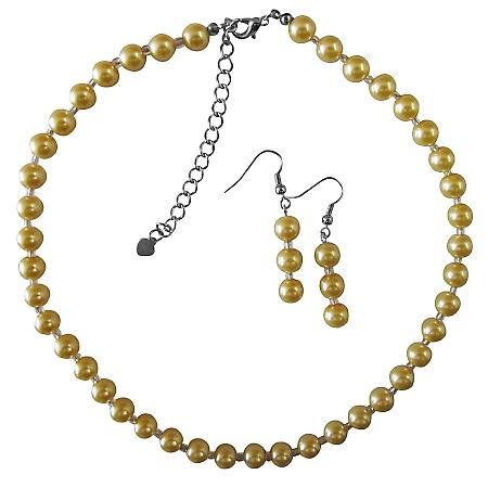 Yellow Pearl With Glass Beads Beautiful Gorgeous Necklace Set Wedding Bridal Bridemaides Party Jewlery