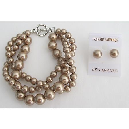 Swarovski Bronze Crystal Pearl 3 Strand Bracelet with Stud Earrings