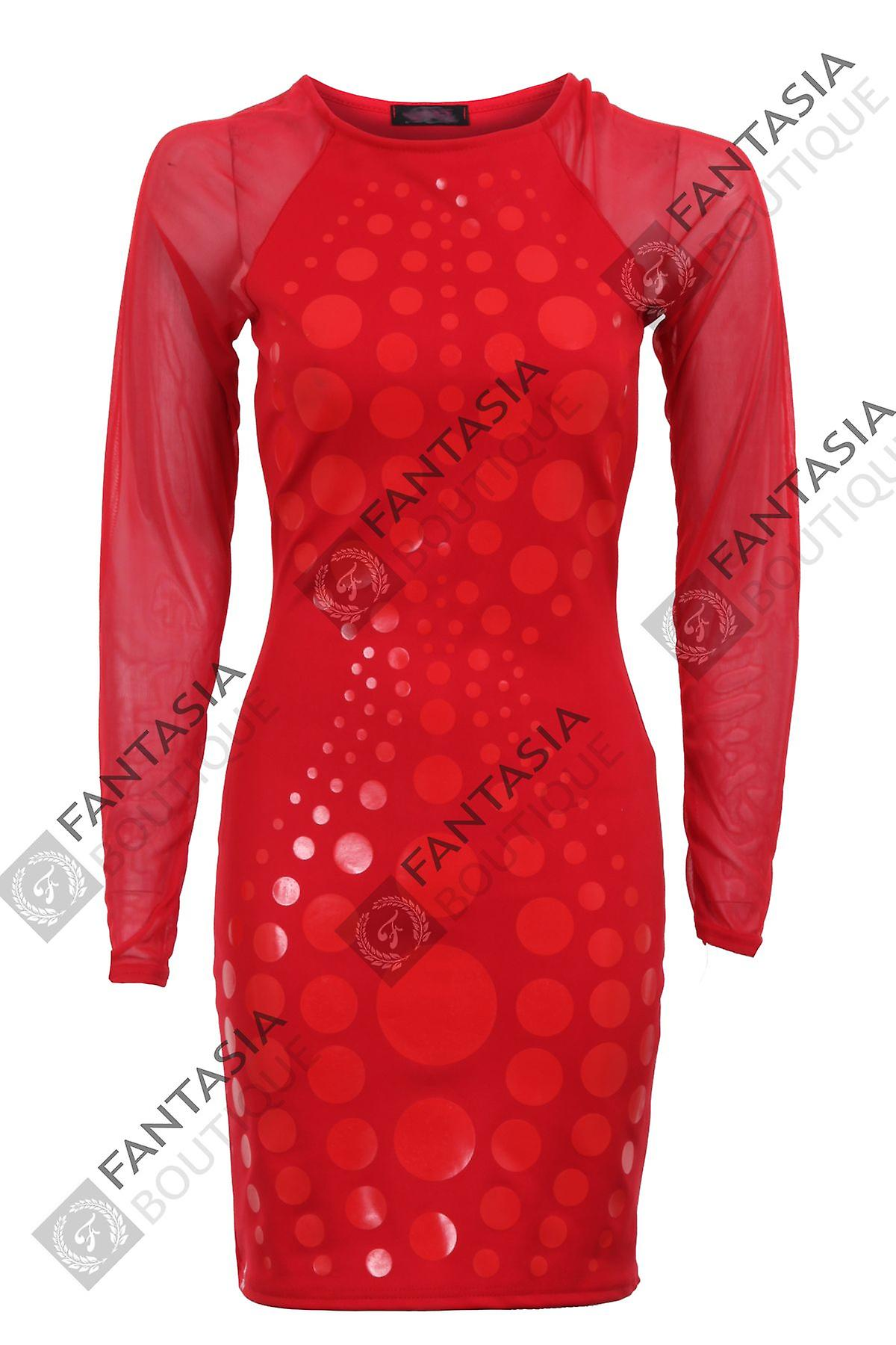 New Ladies Sheer Long Full Sleeve Spotted Polka Dot Stretch Womens Bodycon Dress
