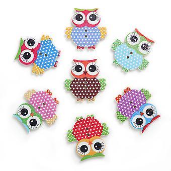 TRIXES 100PC Wooden Owls Craft Buttons