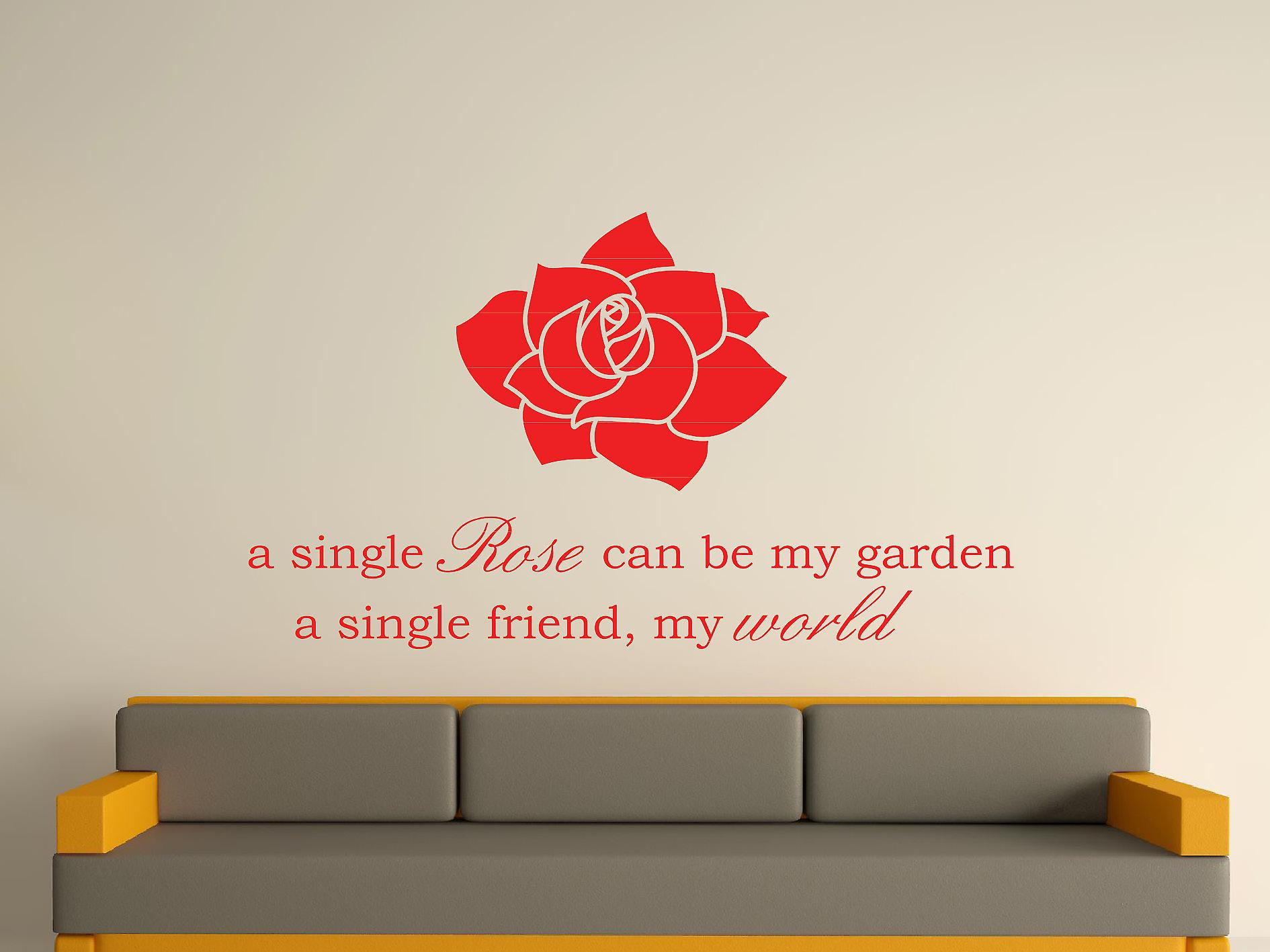 A Single Rose Wall Art Sticker - Tomato Red