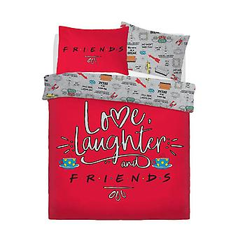 Friends Love Laughter Kids Boys Girls Duvet Quilt Cover Reversible Bedding Set