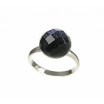 Cavendish Franse Blue Sandstone Facet Domed Button Ring