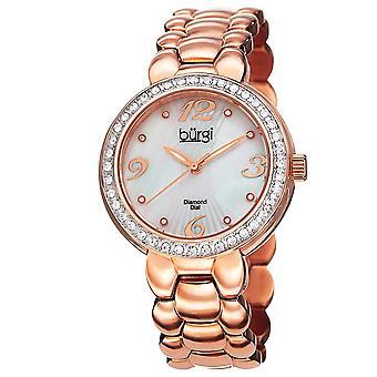 Burgi Women's  Rose Gold-Tone Stainless Steel Watch BUR084RG