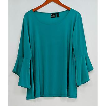 Women with Control Women's Petite Top XLP Petite Flounce Sleeve Green A301384