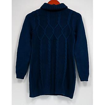 Susan Graver Sweater XXS À manches longues Turtle Neckline Blue A282099