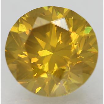 CERT 2,29 CT gul orange VVS2 rund briljant förstärkt naturlig diamant 8.38 mm