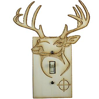 Deer switch plate - raw wood - 6.3