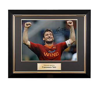 Francesco Totti Signed AS Roma Photo: The Roman Emperor In Deluxe Black Frame With Gold Inlay