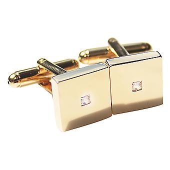 Ah! Jewellery Gold Filled Princess Cut Centre Stone Square Cuff Links, Stamped GL.