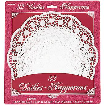 Paper Doilies Assorted Round 32 Pkg White 6809