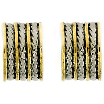 Clip On Earrings Store Silver & Gold Plated Stripey Semi Hoop Clip On Earrings