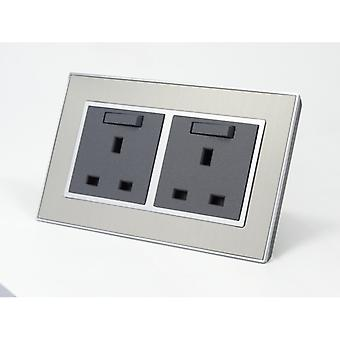 I LumoS AS Luxury Silver Satin Metal Double Switched Wall  Plug 13A UK Sockets