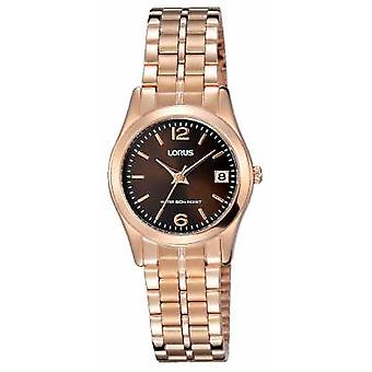 Lorus Womens Rose Gold Tone Stainless Steel Brown Dial RH734BX9 Watch