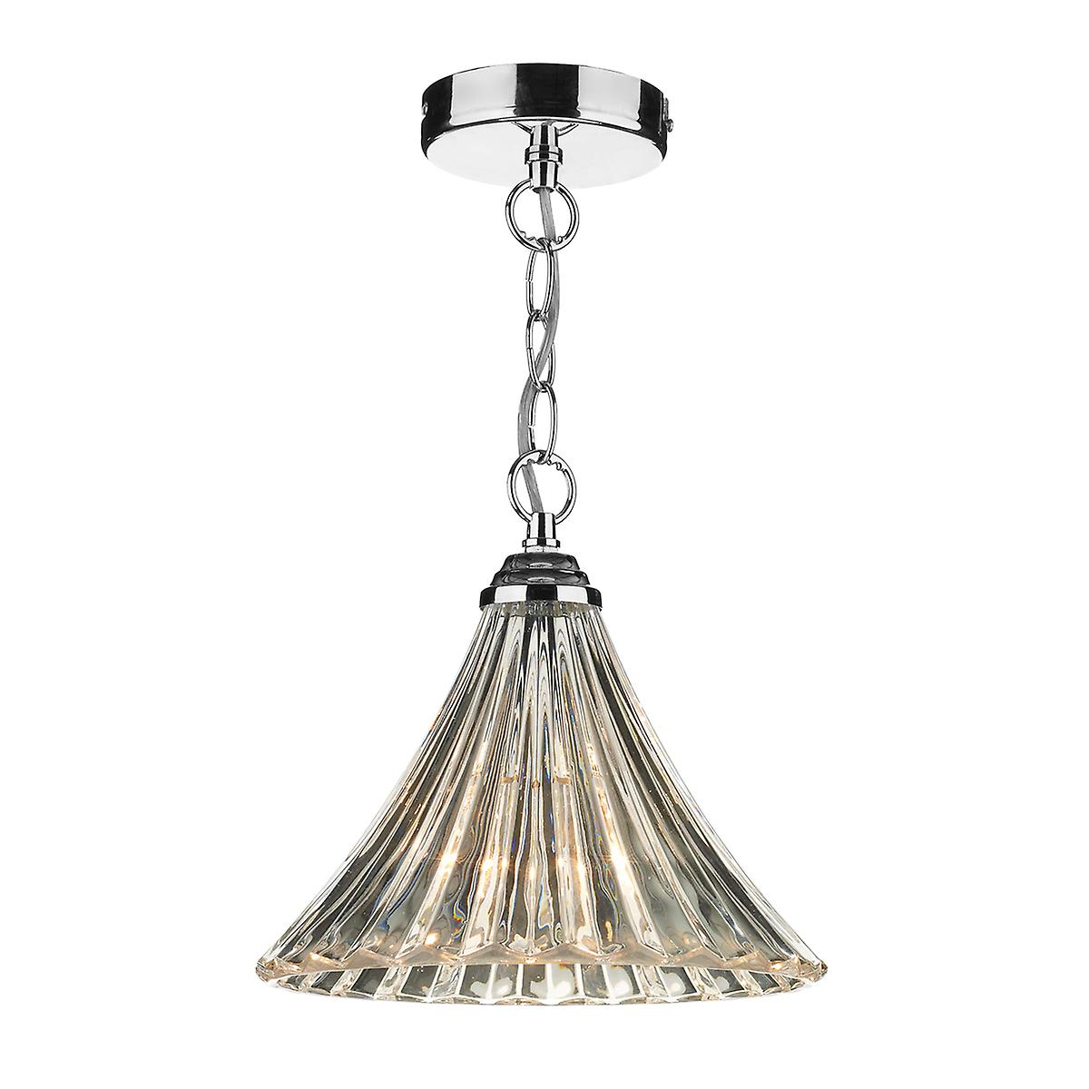 Dar ARD0150 Ardeche Small Ceiling Chain Pendant With Amber Fluted Glass