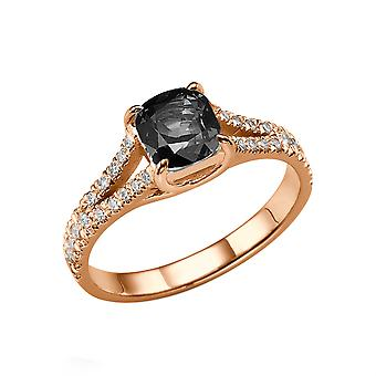 2.20 CTW 14K Rose Gold Black Diamond Ring with Diamonds Split Shank Cushion Vintage