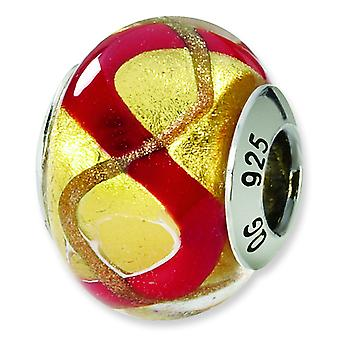 Sterling Silver Polished Antique finish Italian Murano Glass Reflections Yellow Gold Red Italian Murano Bead Charm
