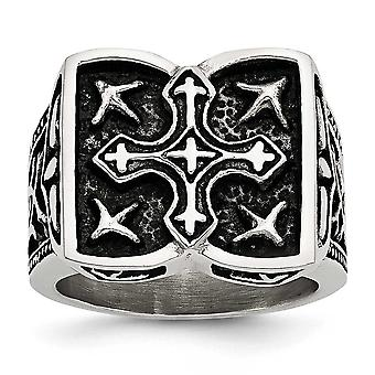 Stainless Steel Polished Antiqued Cross Ring - Ring Size: 9 to 11