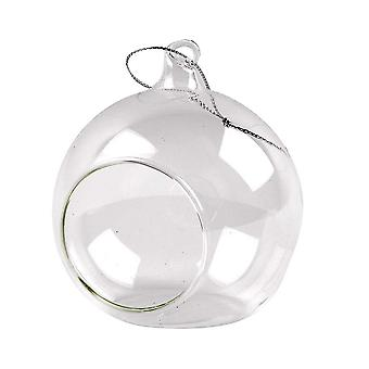 6 Clear 80mm Glass Open Front Christmas Bauble Ornaments