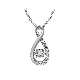 Glittering Stars Diamond Infinity Pendant in Sterling Silver with Chain