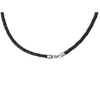 Mens Chisel Necklace in Leather and Stainless Steel 20 Inch