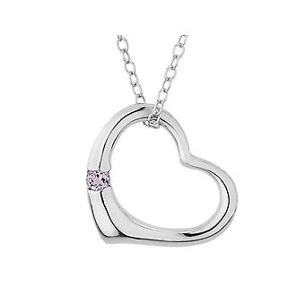 Open Heart Pendant Necklace with Pink Amethyst in Sterling Silver with chain