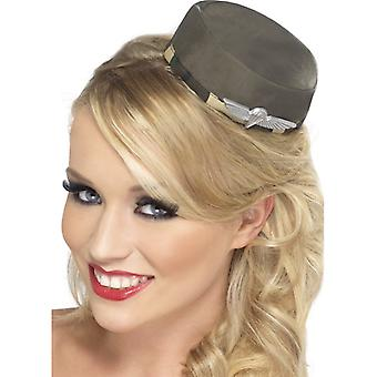 Army military Hat pill box mini ladies Hat soldier