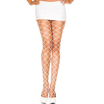 White pantyhose of gross net fabric
