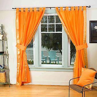 Pumpkin Orange Lasche oben Sari schiere Vorhang (43. X 84 in.) w / passende Zugband