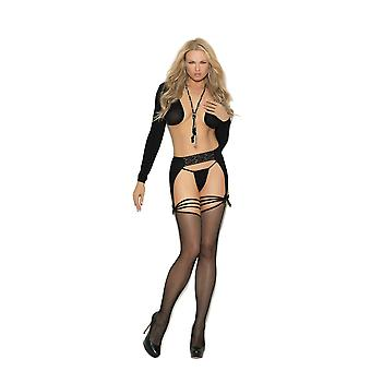 Elegant Moments EM-1351 Fishnet thigh hi with lace