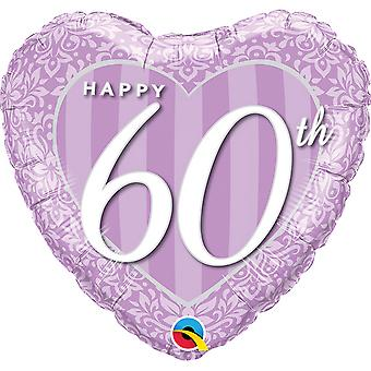 Qualatex 18 Inch Happy 60th Damask Heart Foil Balloon