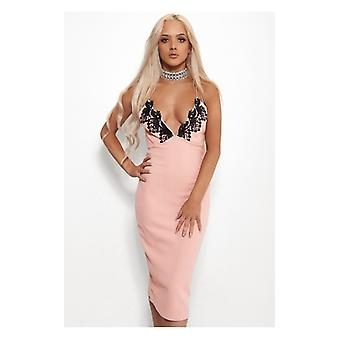 The Fashion Bible Eisha Lace Trim Pink Bodycon Dress