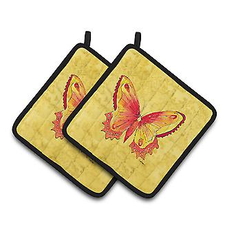 Carolines Treasures  8857PTHD Butterfly on Yellow Pair of Pot Holders