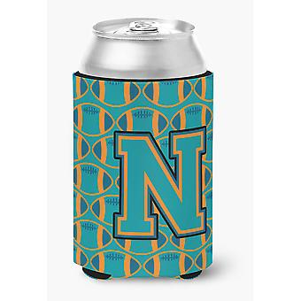 Letter N Football Aqua, Orange and Marine Blue Can or Bottle Hugger