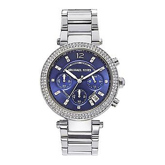 Michael Kors Watches Mk6117 Silver & Blue Chronograph Ladies Watch