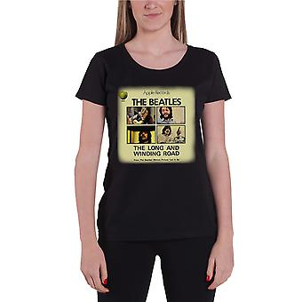 The Beatles T Shirt Long And Winding Road Official Womens New Black Skinny Fit