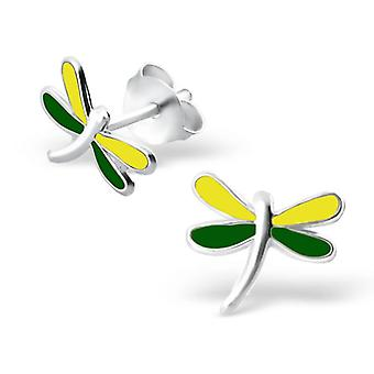 Dragonfly - 925 Sterling Silver + Epoxy Colour Colourful Ear Studs