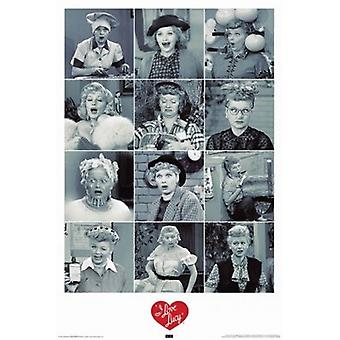 Me encanta Lucy - caras cartel Poster Print