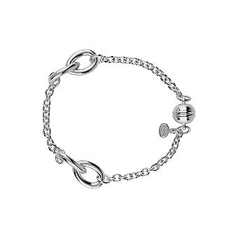 Sterling Silver 925 Womens Ladies Chain Link Charms Bracelet with Magnetic Clasp