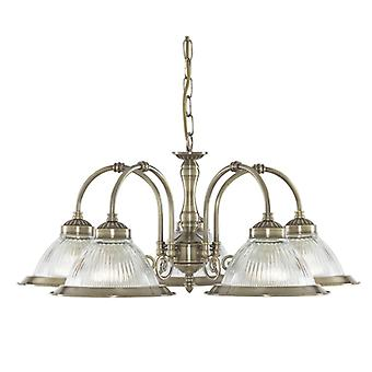 American Diner Antique Brass Five Light Pendant With Ribbed Glass - Searchlight 9345-5