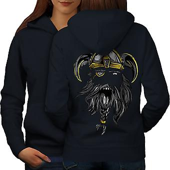 North Warrior Axe Women NavyHoodie Back | Wellcoda