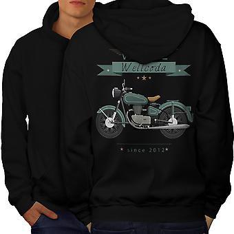 Moto vintage hommes BlackHoodie dos | Wellcoda