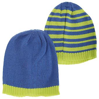 Toddlers Boys Knitted Two Tone Winter Hat (Pack Of 2)