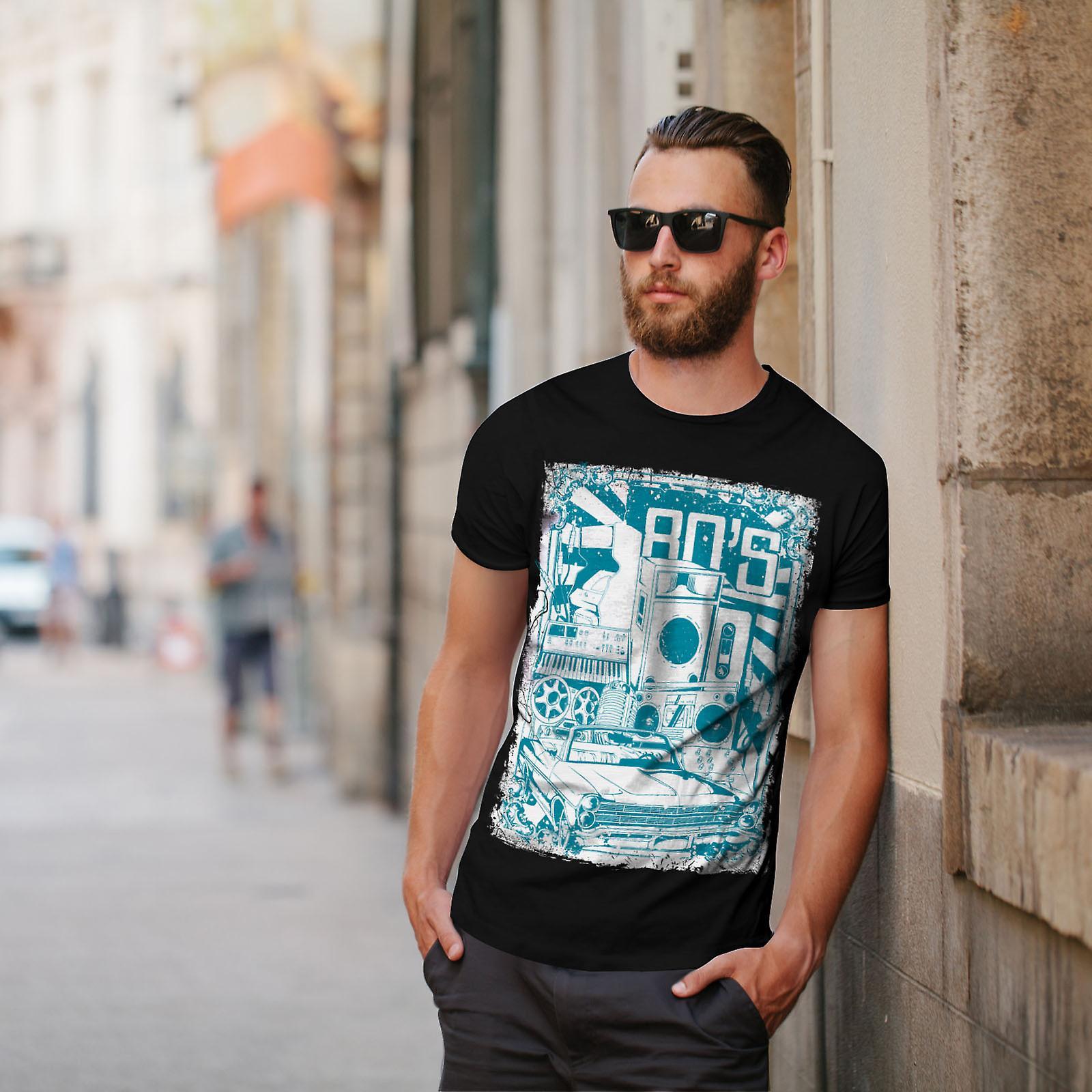 80s Music Car Vintage Men BlackT-shirt | Wellcoda